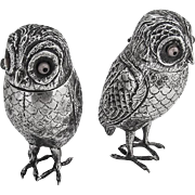 Antique Ornate Figural Owl Salt Pepper Shakers Dutch 833 Standard Silver Glass 1890