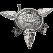 Peruvian 1 Sol Coin Leaf Llama Ashtray Coin Sterling Silver 1926