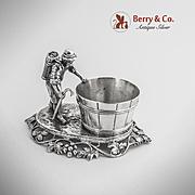 Hanau Figural Farmer Open Salt Dish German 800 Silver 1890