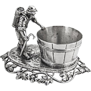 Hanau Figural Farmer Open Salt Dish German 800 Silver 1890