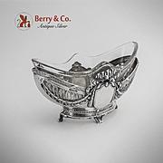 Ornate Openwork Ribbon Small Oval Sweet Meat Dish German 800 Silver Glass WTB 1890