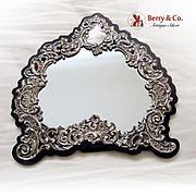 Ornate Floral Scroll Shell Mirror Sterling Silver Wood WDB 1909
