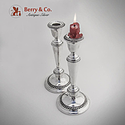 Cambridge Gadrooned Candlesticks Sterling Silver Pair Gorham 1940