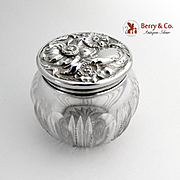 Floral Repousse Dresser Jar Sterling Silver Cut Glass 1960