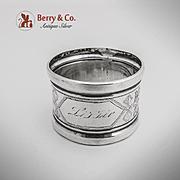 Engraved Foliate Napkin Ring Sterling Silver 1880