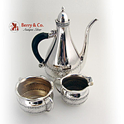 Aesthetic Scroll Coffee Set Sterling Silver 3 Pieces Gorham Shreve 1887