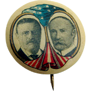 Theodore Roosevelt Charles Fairbanks Presidential Campaign Button Pin 1904