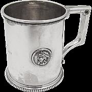 Beaded Medallion Mug Coin Silver Gorham 1860