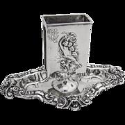 Ornate Fairy Cherub Devil Embossed Match Holder Sterling Silver William Kerr 1900