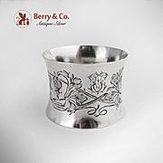 Art Nouveau Napkin Ring German 800 Silver 1900
