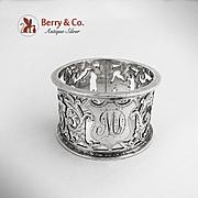 Napkin Ring Ornate Foliate Scroll Cut Work Birmingham 1901 Sterling Silver MD Monogram