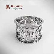 Napkin Ring Ornate Foliate Scroll Cut Work Birmingham 1901 Sterling Silver MD Monogram