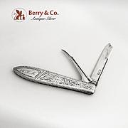 Folding Fruit Knife and Pick Gorham Engraved 1870 Sterling Silver HRM Monogram