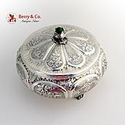 Dresser Box Ornate Repousse Cabachon Gem Finial Italian 800 Silver Alexander Kissov Milan 1960