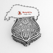 Filigree Purse Sterling Silver 1900 Hinged Lid Frill
