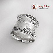 Rose Scroll Napkin Ring Sterling Silver Gorham 1900 Edna