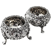 Repousse Pair of Open Salt Cellars or Dishes Sterling Silver by Hennegen Bates and Co 1890