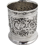 Ornate Repousse Toothpick Holder Urn 800 Silver Germany Floral Scroll Shell Decorations 1890s