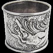 Art Nouveau Nude Lady Napkin Ring Sterling Silver Art Nouveau 1900