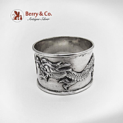 Dragon Napkin Ring Sterling Silver Chinese Export c.1910
