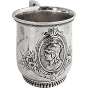 Medallion Cup Wood and Hughes Coin Silver 1866