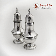 Colonial Revival Salt and Pepper Shakers Sterling Silver Watrous 1940