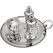 Unusual Salt and Pepper Shakers and Mustard Pot on a Tray Sterling Silver 1910