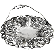 Chinese Export Silver Swing Handle Basket Open Work Floral Designs 1860-1880