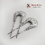 Pair of Hair Pins Sterling Silver Navajo Embossed Decorations