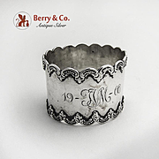 Scroll Border Napkin Ring Sterling Silver 1900