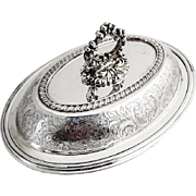 Oval Covered Silverplated Dish Ellis Barker Birmingham England 1920