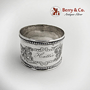 Scroll Engraved Napkin Ring Coin Silver Beaded Border 1880