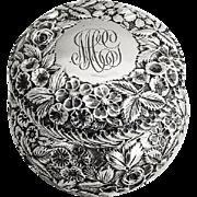 Repousse Powder Dresser Jar Baltimore Sterling Silver Co Stieff 1900