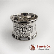 Large Napkin Ring Repousse Floral and Fruit Decorations Coin Silver 1870