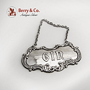 Vintage Gin Bottle Tag Label Sterling Silver Gorham Silversmiths