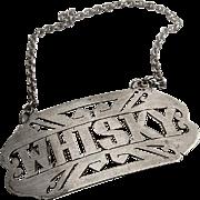 Whisky Bottle Tag Label 833 Silver Lisbon Portugal 1940