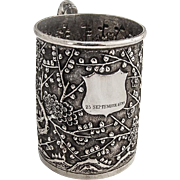 Chinese Export Silver Cup Ornate Cherry Blossom Decorations 1899