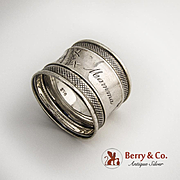 Aesthetic Napkin Ring Coin Silver 1880 Monogram Mamma