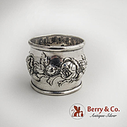 Floral Rose Repousse Napkin Ring Sterling Silver Simon Brothers 1900