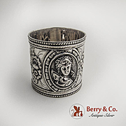 Medallion Napkin Ring Coin Silver 1880