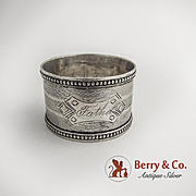Engine Turned Napkin Ring Beaded Border Coin Silver 1860 Monogram Father