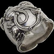 Art Nouveau Napkin Ring High Relief Decorations Sterling Silver La Pierre 1900