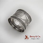 Aesthetic Coin Silver Napkin Ring Embossed Borders 1880