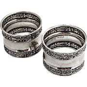 Pair of Napkin Rings Sterling Silver 1910