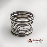 napkin Ring Coin Silver Monogrammed Anna 1880