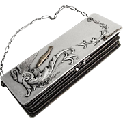 Art Nouveau Lady s Purse Russian 84 Standard Silver Gold Fish Swan Decorations