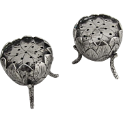 Figural Lotus Salt and Pepper Shakers Asian Sterling Silver 1930