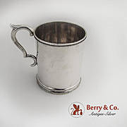 Coin Silver Mug Cup Beaded Borders 1870