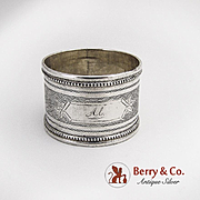 Engine Turned Napkin Ring Coin Silver 1880 Monogram Al