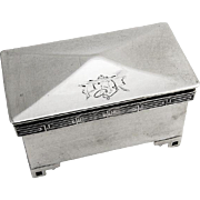 Chinese Style Stamp Box Sterling Silver Mount Vernon Silversmiths 1900